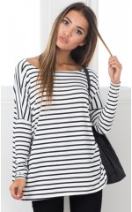 Slouch top in white stripe