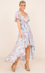 Taken By You maxi dress in blue floral