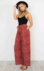Gone Tomorrow Pants in red print