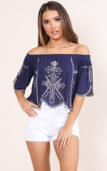 The Whole Time top in navy embroidery