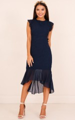Tighten The Strings Dress in  Navy