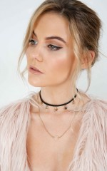 Get Rich choker in black gold