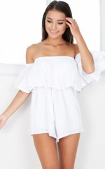 You Bring Me Joy playsuit in white