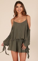 Make Your Move playsuit in khaki