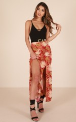 Back Together maxi skirt in red print