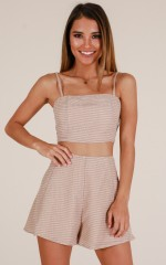 Camila two piece set in beige stripe