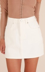By The Light skirt in white denim