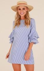 Fade Away dress in blue stripe