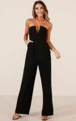 Catching Up jumpsuit in black