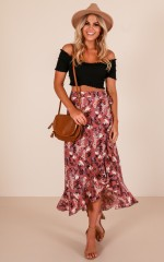 Split The Difference skirt in dusty pink floral