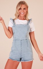 Sun And Sand playsuit in light wash denim