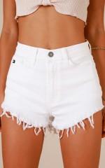 My Story shorts in white denim