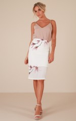 Claim It Back skirt in white lily print