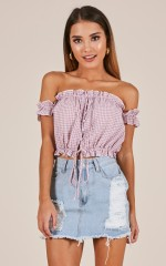 Mysterious Girl top in pink check