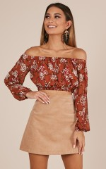 Take It In top in rust floral