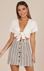 Turn Up The Heat skirt in black stripe