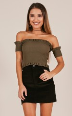 Morning Light knit top in khaki