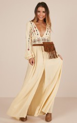 Sweet Relief Maxi Dress in Beige Embroidery