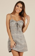 School Girl dress in grey check
