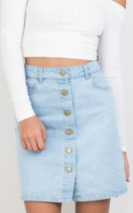 Bring It Back Skirt in Light Wash Denim