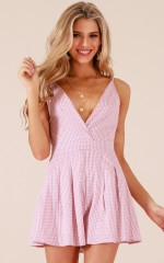 Down For The Night playsuit in pink gingham