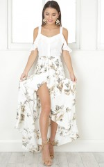 The Island Life maxi skirt in white floral