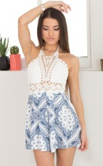 Beach About Playsuit in Navy Print