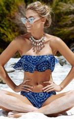 Shade Bikini Top in  navy bandana print