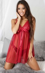Wildest Dreams Slip Dress in red lace