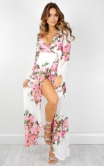 Autumn Falls maxi dress in white floral