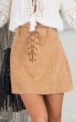 Lover Not A Fighter skirt in tan