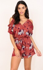 All That You Give playsuit in rust floral