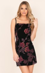 Here We Go Again dress in black floral
