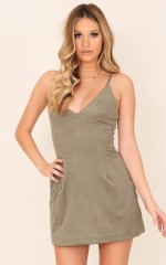 Not For Long dress in khaki suedette