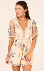 All You Wanted playsuit in beige floral