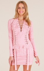 For A Good Time dress in blush suedette
