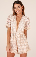 Love Land playsuit in beige lace
