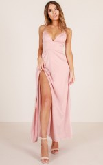 Disconnected Maxi Dress in blush