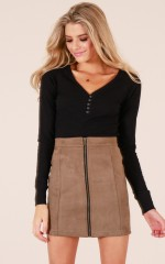 My Ambition skirt in taupe suedette