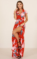 New Romance maxi dress in red floral