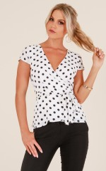 Back In Action top in white polkadot