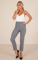 Ahead Of The Game Pants in Grey Check