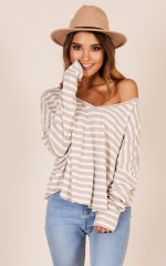 A Perfect Day top in mocha stripe