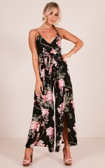 Never Want To Leave jumpsuit in black floral