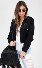 Rocker Chick Jacket in Black Suedette