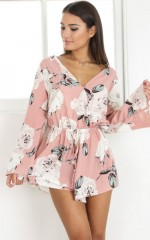 Take A Chance Playsuit in dusty pink floral