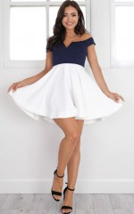 Meet Me Dress in navy and white