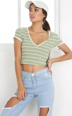 Hit Me Up Crop Top in Khaki Stripe