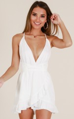 Holding On To A Dream playsuit in white