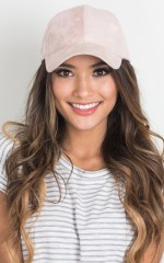 Half Time cap in pale pink suedette